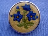 Round Vintage Brooch -  Embroidered Blue Flowers on Yellow (SOLD)